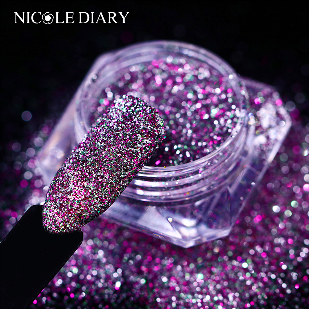 Iridescent Nail Powder Blue: Aliexpress.com : Buy NICOLE DIARY Mixed Color Nail Glitter