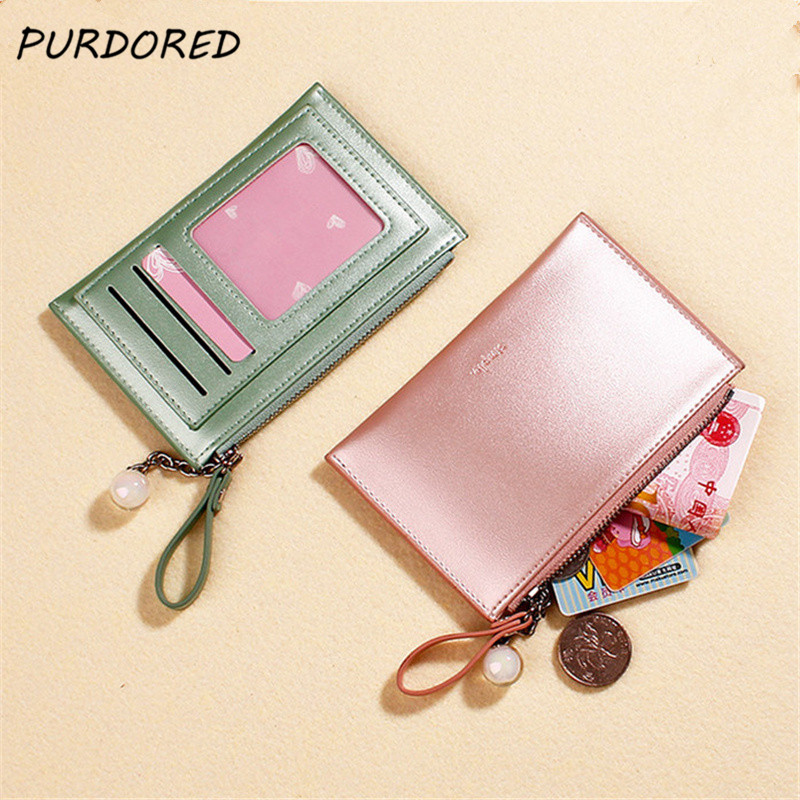 PURDORED 1 Pc Women Solid Color Card Holder PU Leather Laser Credit ID Card Case Business Bank Cards Bag Small Wallet Coin Purse