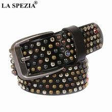 LA SPEZIA Mens Belts Real Leather Pin Buckle Belt Male Rivet Black Streetwear Rhinestone Luxury Genuine Cowhide