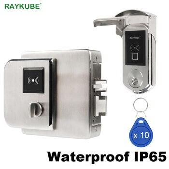 RAYKUBE Водонепроницаемый fingerrint электронный дверной замок с микросхемой чипом микропроцессорные карты читателя отпечатка для Outsite ворота IP65