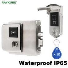RAYKUBE wodoodporny Fingerrint elektroniczny zamek do drzwi z czytnik kart elektronicznych weryfikacji odcisków palców dla Outsite bramy IP65