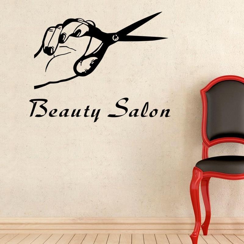 DCTAL Ciseaux Salon De Coiffure Autocollant Coiffeur Decal Salon De ...