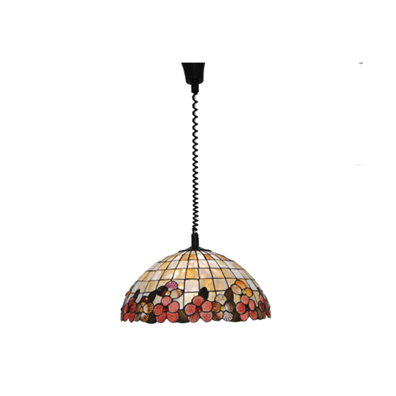 18 Inch European Tiffany Flowers Stained Glass Lampshade Pendant Lamp Countryside Style Shell Suspension Light E26/E27 Bulb P765 16inch antique agate jade dragonfly stained glass lampshade tiffany pendant lamp country style bedside lamp e27 110 240v