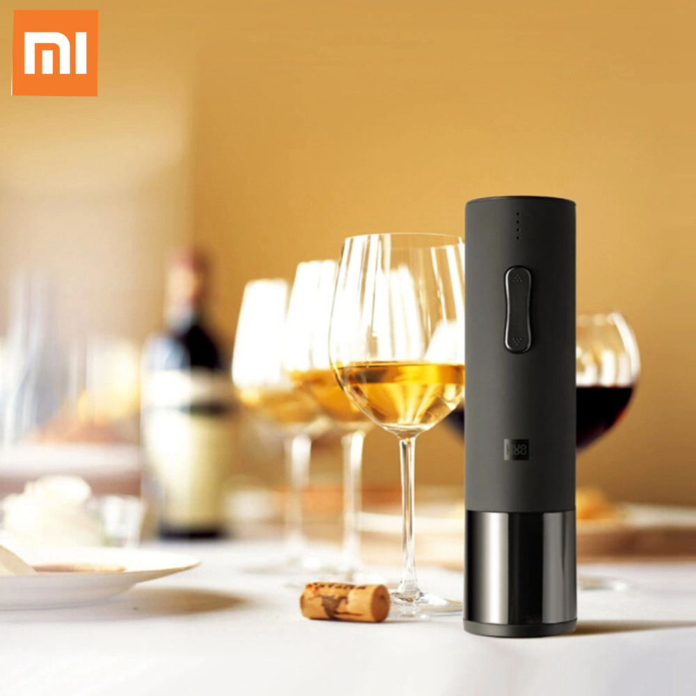 Xiaomi HuoHou Wine Electric Bottle Opener Six Seconds Open Bottle Tool 550mAh - Black fashion windproof butane gase lighter w red wine bottle opener 2 led lights gold silver