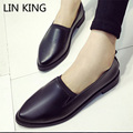 LIN KING Women Casual Shoes Leisure Low Heel Slip On Ankle Shoes Fashion Low Top Loafers Square Heel Solid Lady Lazy Shoes