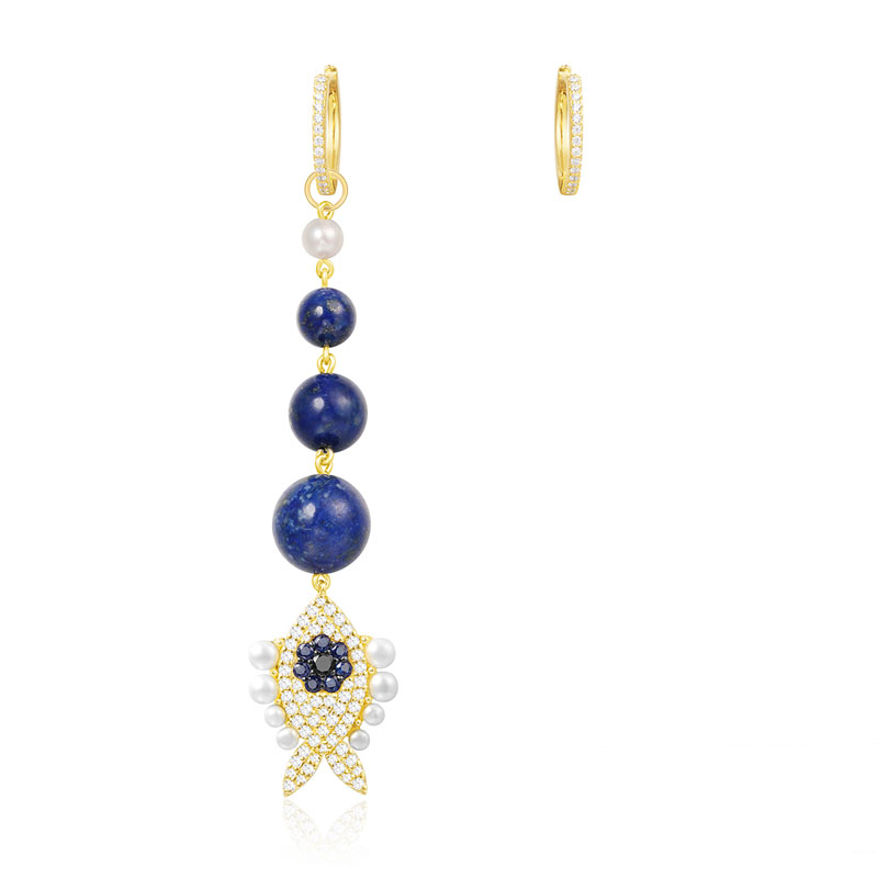 SLJELY 925 Sterling Silver Asymmetric Yellow Gold Color Lucky Eye Navy Blue Fish Earrings with Pearl