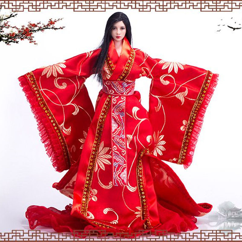 Mnotht 1/6 VS038 Female Solider Ancient Chinese wedding dress Long Dress Suit For HT/VERYCOOL/TT/play toy/PHICEN/JIAOU DOLL L30 jiaou doll 1 6 scale female clothing