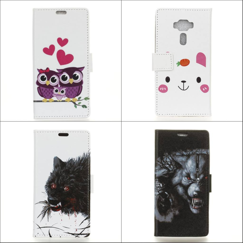 c220a62c5d3 ₪Cartoon cute Owl Animal Wolf wallet with card Flip Cover PU Leather ...