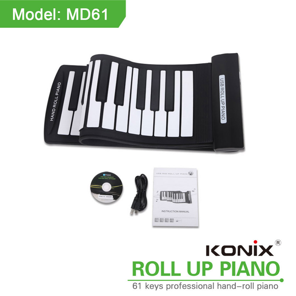 61 touches Électrique Roll Up Piano Portable Flexible Piano Silicone MIDI Numérique Souple Clavier Piano Flexible Musical Instrument