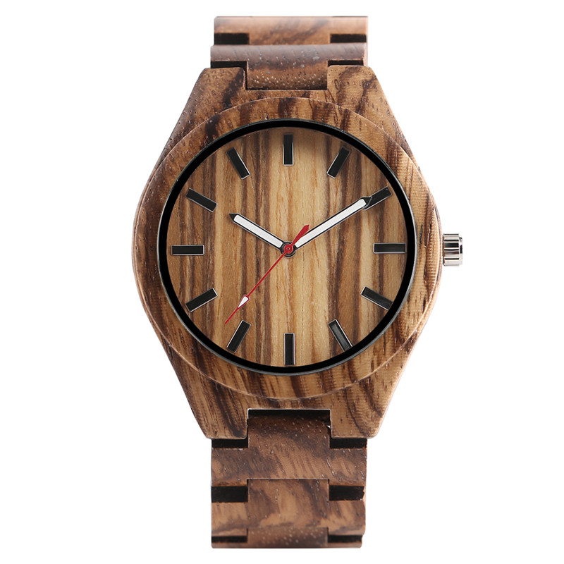 High Quality Men's Quartz Hand-made Wooden Watch Simple White/Red Pointer Bracelet Clasp Watchband Casual Wristwatch for Male sweets made simple