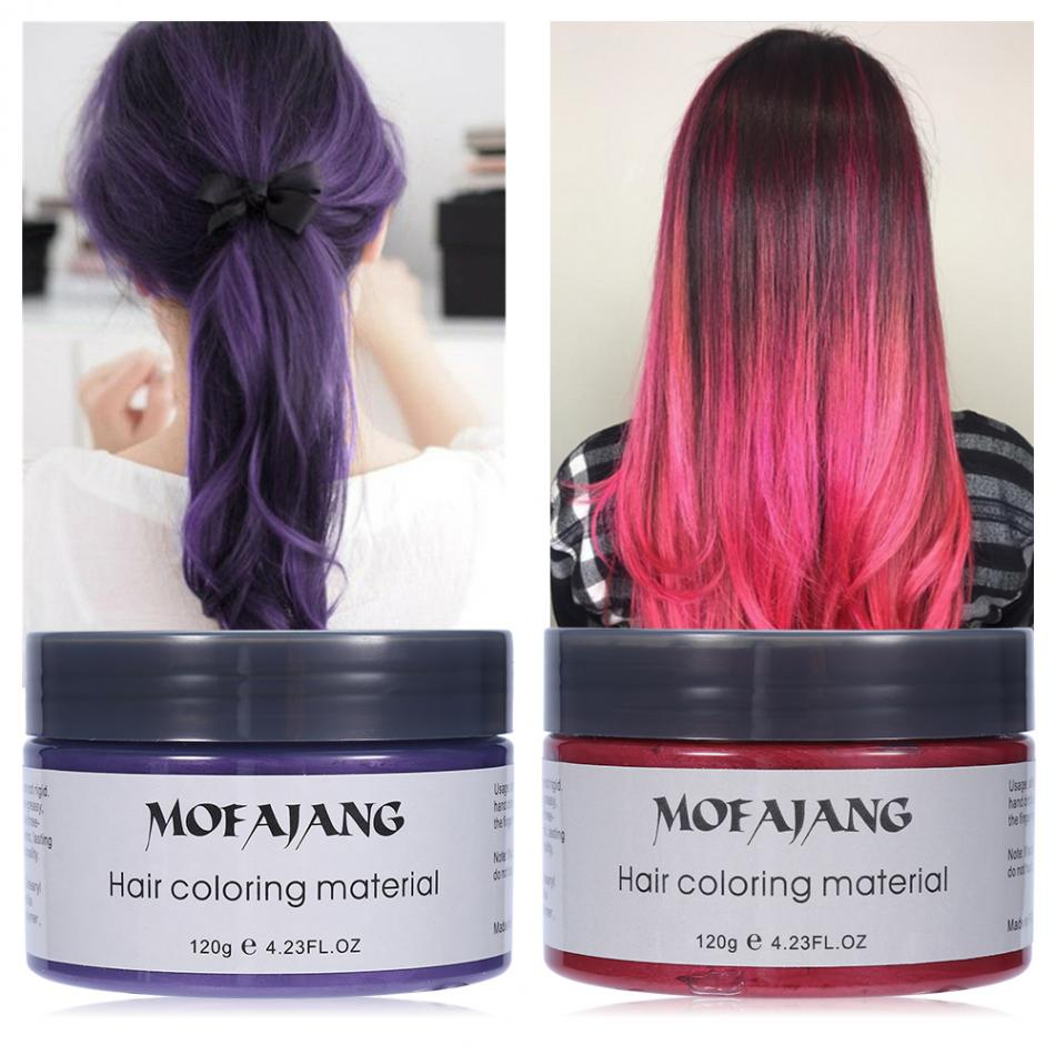 MOFAJANG 120ML Hair Color Mud Wax Unisex Disposable Non-Oily Hair Dye Mud Hairdressing Cream Hair Styling Purple Coloring Wax