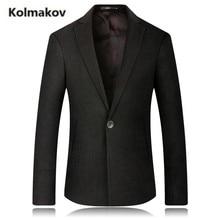 KOLMAKOV 2017 new autumn high quality men's fashion suit print cotton blazers,single button Business casual jacket blazer men.