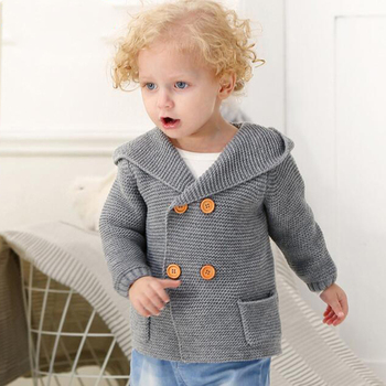 Baby Boy Knitting Cardigan 2019 Winter Warm Newborn Infant Sweaters Fashion Long Sleeve Hooded Coat Jacket Kids Clothing Outfits