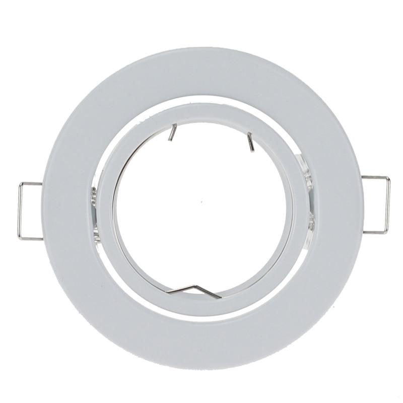 10 sztuk/partia okrągłe białe LED wpuszczone sufitu światła regulowana rama dla GU10 MR16 montażu montażu sufitu oświetlenie punktowe ramki