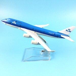 Image 1 - משלוח חינם 16CM 747 KLM מתכת סגסוגת דגם מטוס מטוסי דגם מטוס צעצוע מתנת יום הולדת