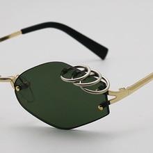 d8f5d1271 SHAUNA فريد الحديد خواتم الديكور المرأة بدون شفة النظارات الشمسية الرجعية  الرجال الظلام الأخضر الشرير نظارات UV400