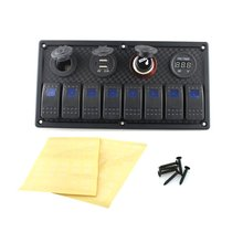 12V-24V DC 8 gang Waterproof marine blue led switch panel with power socket and USB charger The cigarette lighter marine electric blue led toggle switch panel 5 gang with power socket panel 12v refit
