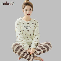 Autumn Winter Women Pyjamas Sets Thick Warm Flannel Women S Suits Sleepwear Sets Pajamas Womens Tracksuit