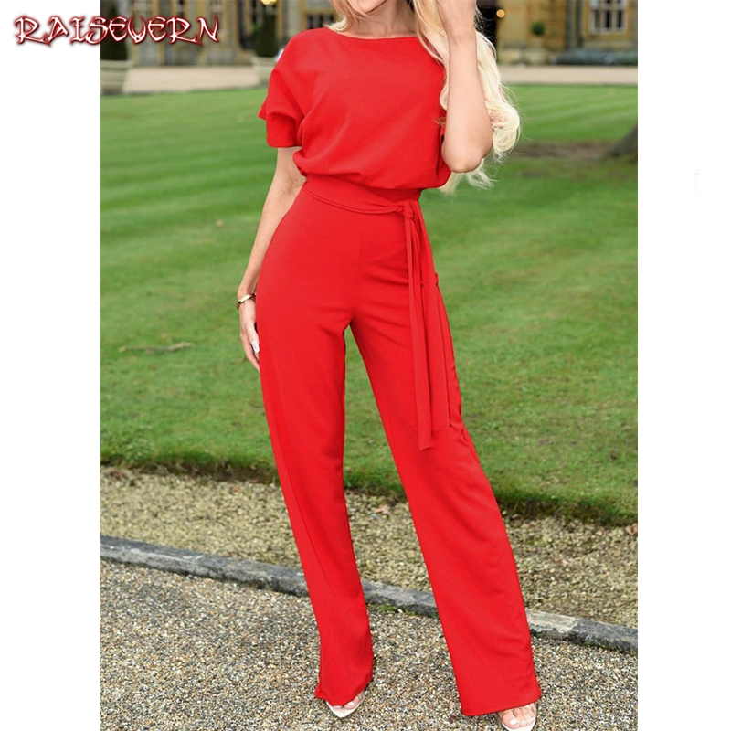 RAISEVERN Women   Jumpsuits   2019 Ladies Solid Rompers Party Clubwear Playsuits Wide Leg Short Sleeve Sashes   Jumpsuit   Long Trousers