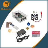 Raspberry Pi 3 Case Heat Sink GPIO Kit 16G SD Power Supply Cooling Fan Camera Bracket