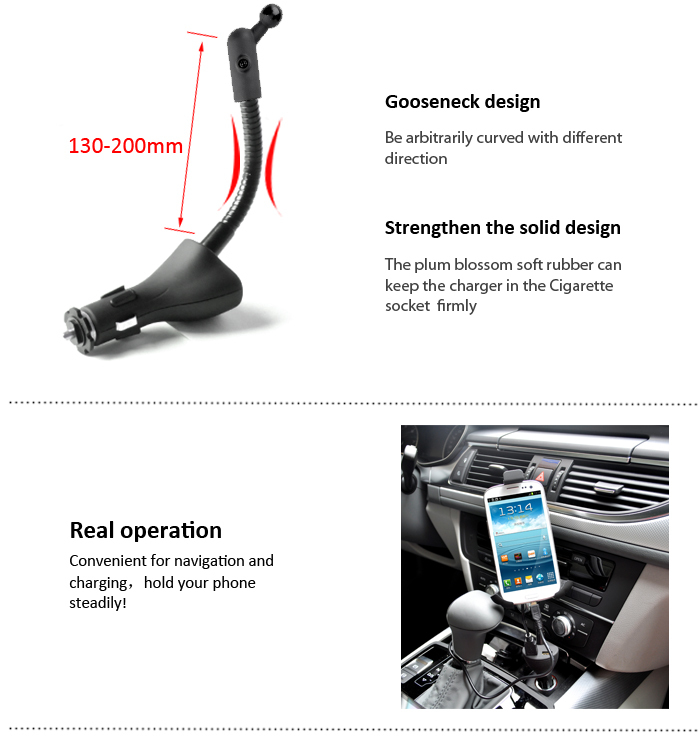 Universal Dual USB Car Mount Phone Holder HC58