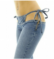 Sexy Vrouwen Laagbouw Taille Nachtclub Jeans Sexy Bandage Hollow Lage taille Flare Broek Sexy Club Wear Hoge Kwaliteit FX1065