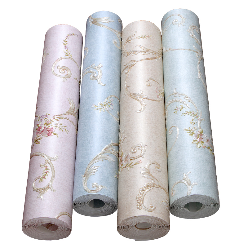 American Garden Flowers Wallpaper Light Blue Bedroom Non-woven Wallpaper Vintage Living Room Tv Background Wall Paper Roll non woven bubble butterfly wallpaper design modern pastoral flock 3d circle wall paper for living room background walls 10m roll