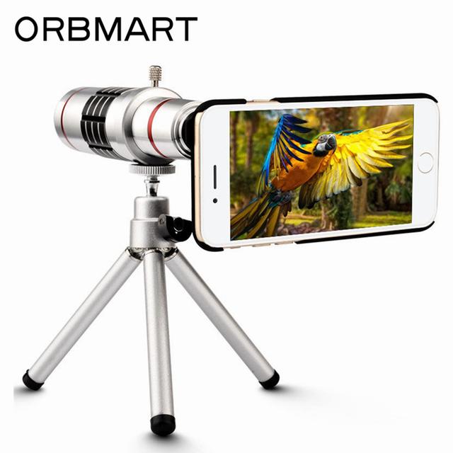 ORBMART 18X de Zoom Óptico Lente Del Telescopio Del Teléfono Móvil Para Apple iphone 7 7 plus con mini trípode y caso trasero cubierta