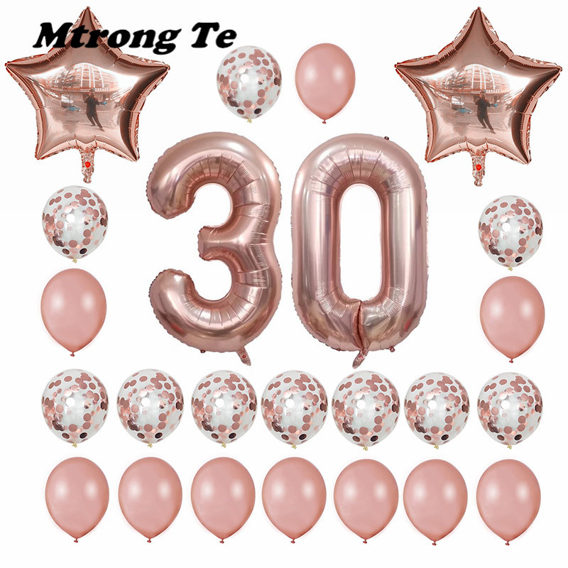 24pcs/set 16 21 30 40 50 60th Happy Birthday Rose Gold Star Confetti 40inch Number Foil  ...