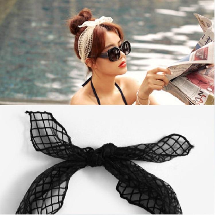 2019 New Korean Fashion Rabbit Ear Headband For Women Black Cream Organza Elastic Hair Band For Girls Headdress Hair Accessories