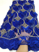 French African lace fabric high quality embroidered Nigerian net lace with guipure lace fabric 5 yards for lady dress(WDLY1 1 19