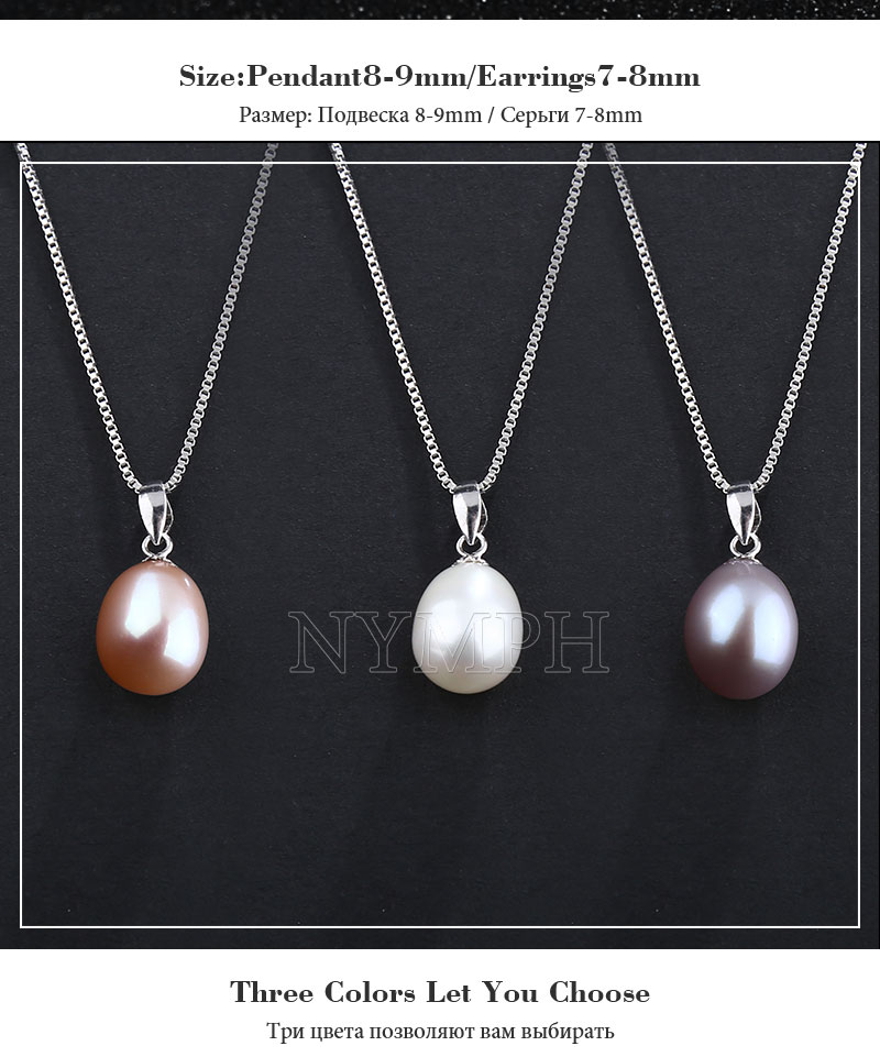 HTB1bS.GkER1BeNjy0Fmq6z0wVXaT NYMPH pearl jewelry sets natural freshwater pearl pendant earrings s925 sterling silver party gift T219