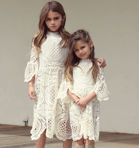 PaMaBa Elegant Baby Girls Lace Summer Party Dress 3/4 Flare Sleeve White Christening Robe Flower Girls Dress-up Kids Clothing(China)