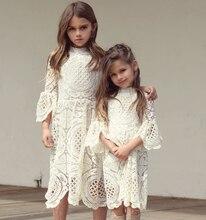 PaMaBa Robe dété en dentelle pour filles, Robe florale, manches évasées, élégante 3/4, pour baptême, vêtements pour enfants