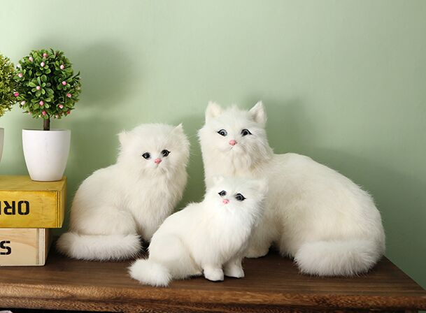artificial Persian cat model sounds miaow polyethylene&furs white cats one lot/ 3 pieces handicraft home decoration gift a2105