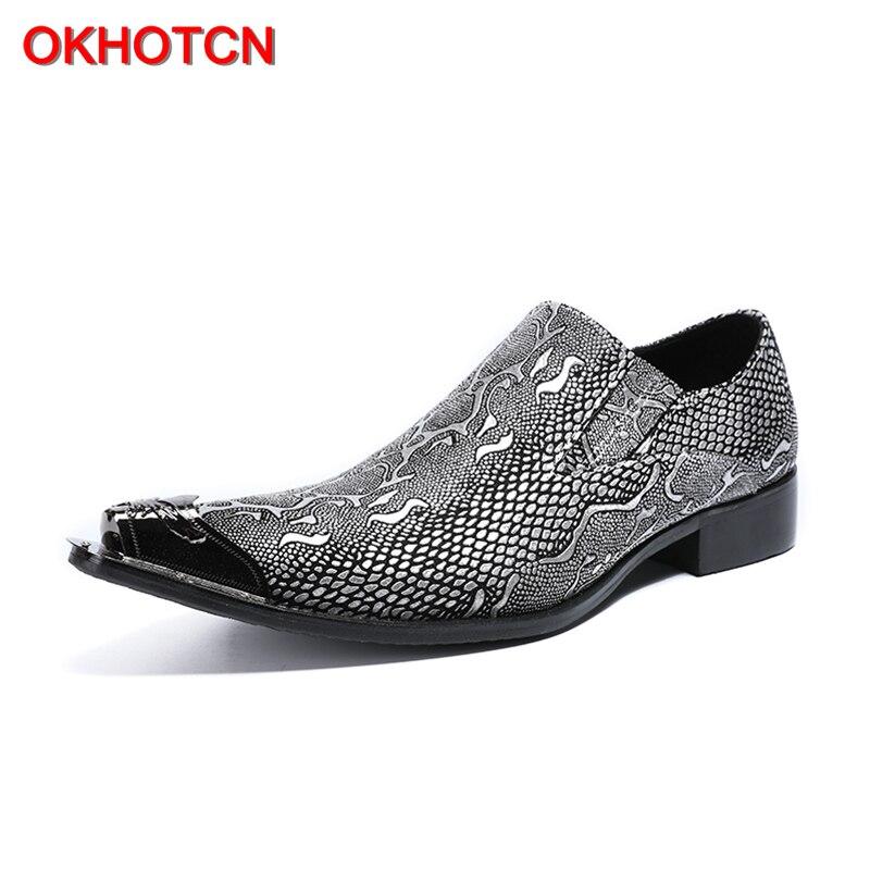 OKHOTCN nouveauté offre spéciale homme chaussures formelles en cuir véritable point de métal Python texture homme d'affaires robe de soirée chaussures de mariage