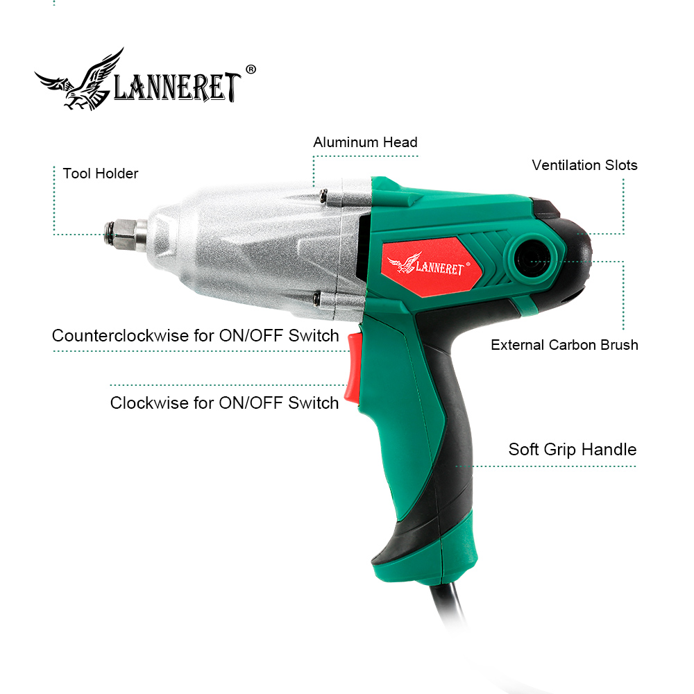 Image 3 - LANNERET 450W Electric Impact Wrench 300Nm Max Torque 1/2 inch Car Socket Electric Wrench Changing Tire Tool-in Electric Wrenches from Tools on