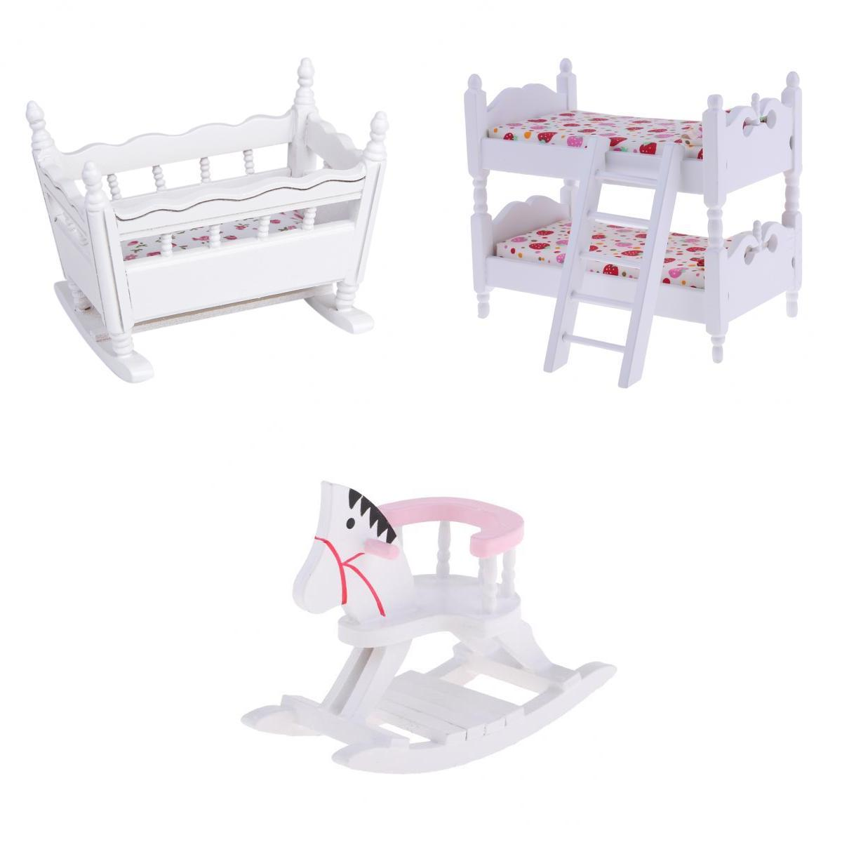 White 1/12 Scale Dollhouse Furniture Children Nursery Bedroom Bunk Bed Cradle Rocking Horse Set