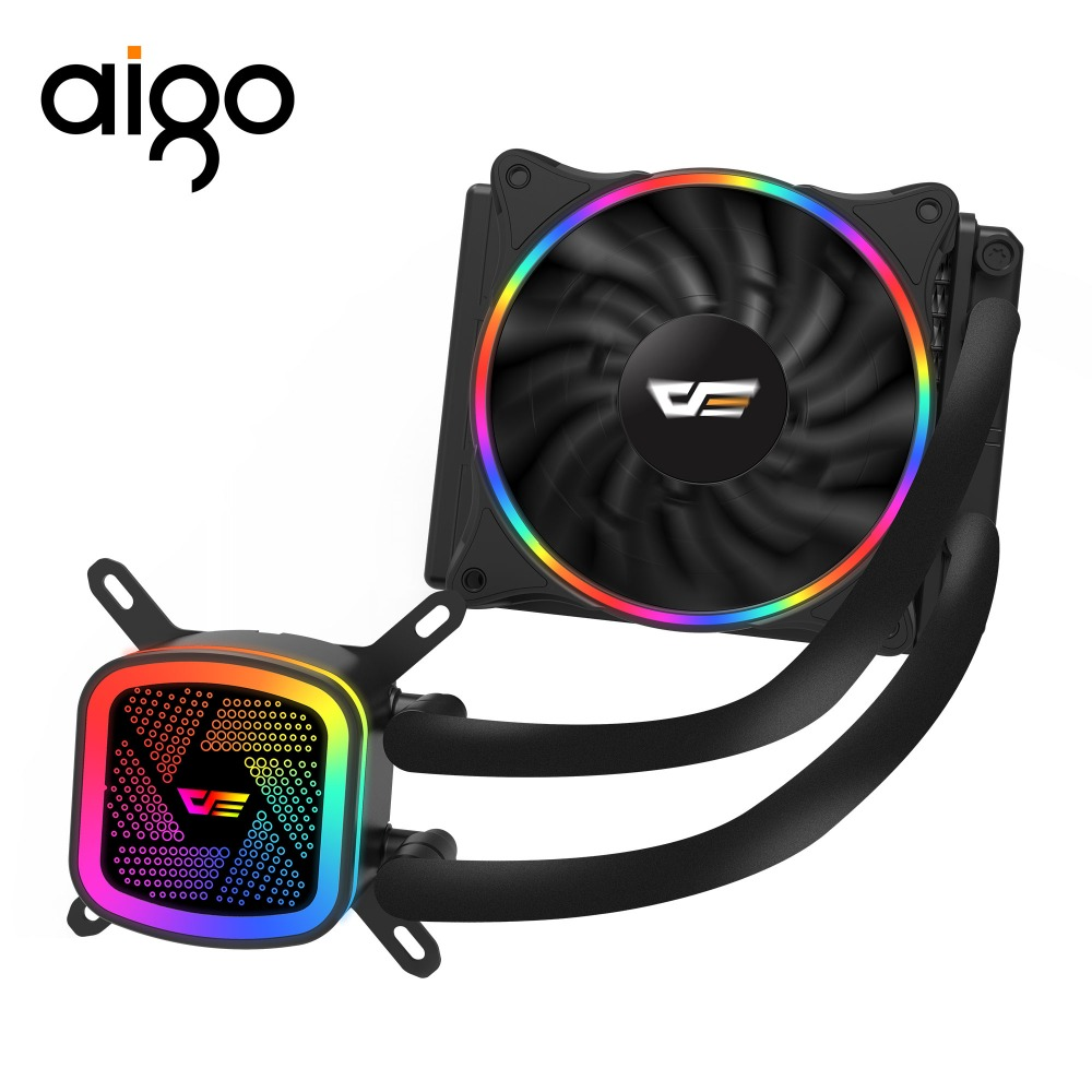 AIGOWater Cooling watercooling Radiator with 120mm LED Rainbow Lighting Fan liquid CPU Cooler RGB FAN DT120