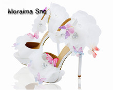 Moraima Snc brand clogs shoes pumps lace white bride wedding flower butterfly design 14 cm high heels women