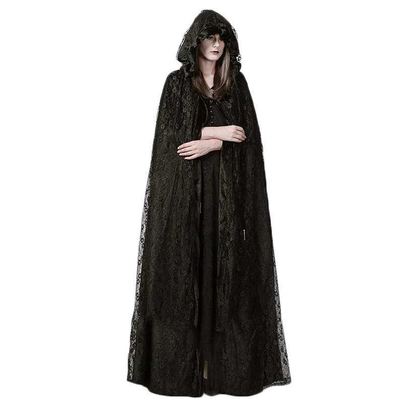 Steampunk Gothic Trech Coat Black Mysterious Ritual Lace Long Cloak Halloween Cosplay Costumes Trench Coat Female Spring