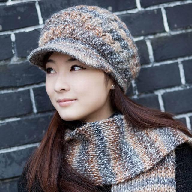 a1a5a3a14dd Wool hat scarf set women s winter autumn and winter yarn women s fashion  new brand female knitting wool cap scarf outdoor warm
