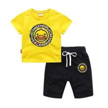 BOTEZAI childrens new sports suit children summer boys and girls cotton cartoon cute duck clothing