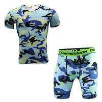 Findci Men Rsquo S Sports Fitness Camouflage Tight T Shirt Set Short Sleeve T Shirt Shorts