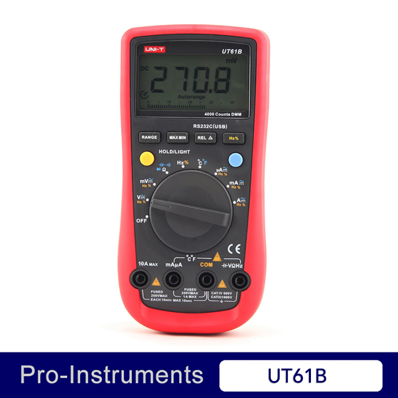 UNI-T UT61B 3999 Count Auto Power Off LCD Backlight DMM Digital Multimeters with Temperature Test uni t ut61b modern digital multimeters 3999 count auto power off temperature tester lcd backlight
