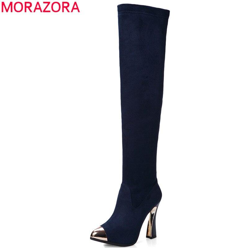 b26c4bd3ddebe 2017 marque de mode femmes chaussures automne hiver haute bottes dame  chaussures femme hauts talons sur le genou bottes sexy longue bottes