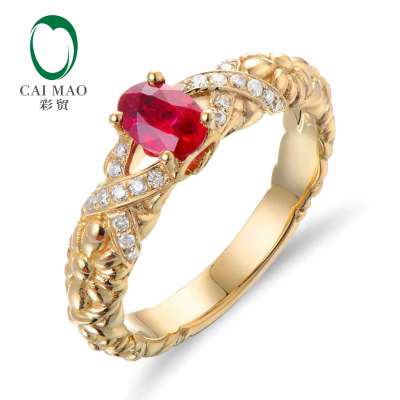 CaiMao 18KT/750 Yellow Gold 0.65 ct Natural Red Blood Ruby & 0.12 ct Full Cut Diamond Engagement Gemstone Ring Jewelry caimao jewelry natural red ruby with pearl and diamond engagement 14ct yellow gold pendant