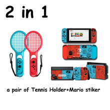 For Nintendo Switch NS Tennis ACES Game Player For Nintend Switch Joy-con ABS Tennis Racket Handle Holder with 2 game stickers