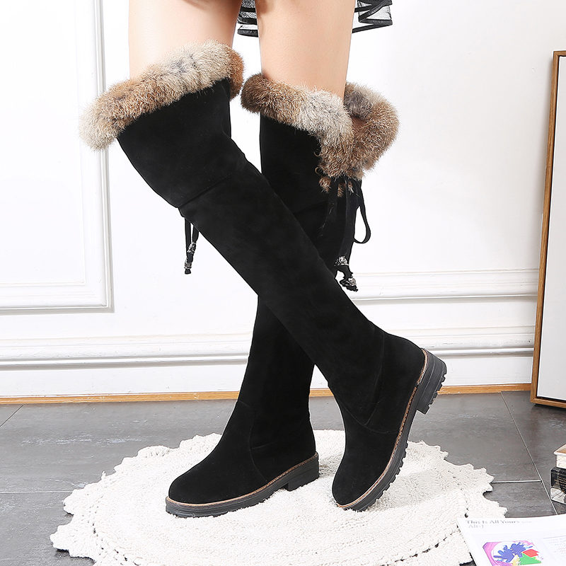 Women Snow Boots Over The Knee Warm Plush Lining Lace Up Faux Fur Size 34-43 Square Heels Fashion Woman's Winter Shoes SB039