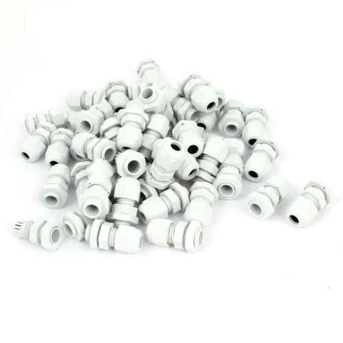 PG7 3.5-6mm Adjustable Waterproof Fixing Connector Cables Gland White 100 Pcs